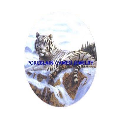 WHITE TIGER SNOW MOUNTAIN  * UNSET CAMEO PORCELAIN CABOCHON