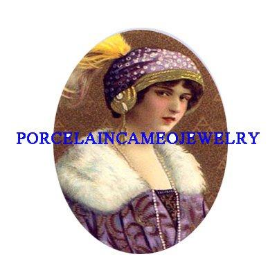 ART DECO PURPLE FLAPPER LADYCAMEO PORCELAIN CABOCHON