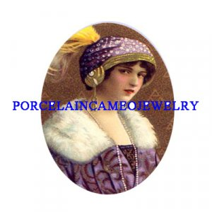 ART DECO PURPLE FLAPPER LADYCAMEO PORCELAIN CABOCHON