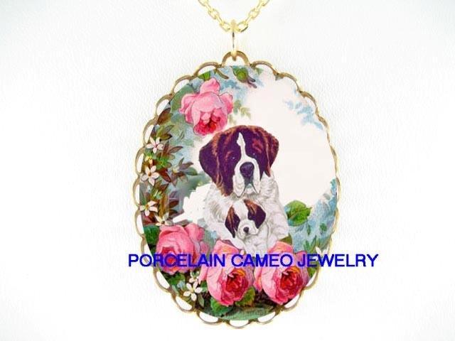 2 SAINT BERNARD DOG MOM CUDDLING PUPPY DOG ROSE CAMEO PORCELAIN
