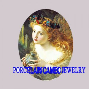 ROCOCO BUTTERFLY FAIRY UNSET PORCELAIN CAMEO CABOCHON