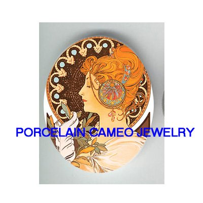 ALPHONSE MUCHA FLOWER LADY   * UNSET CAMEO PORCELAIN CABOCHON