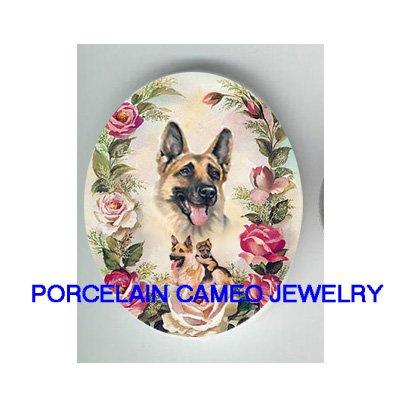 GERMAN SHEPHERD DOG MOM PUPPY ROSE PORCELAIN CAMEO CABO