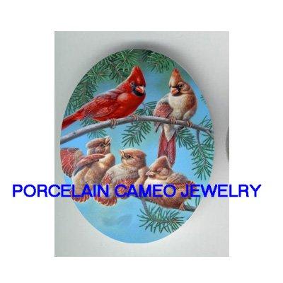 5 CARDINAL BIRD FAMILY PINE TREE UNSET CAMEO PORCELAIN