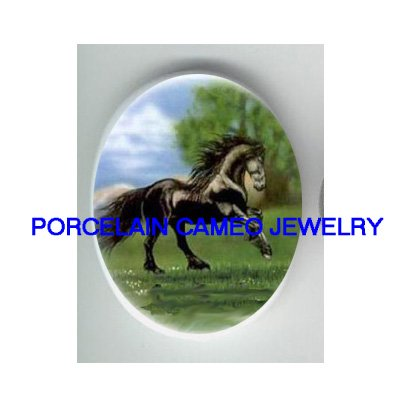 BLACK FRIESIAN HORSE RUN UNSET PORCELAIN CAMEO CABO