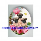 3 PUG PUPPY DOG ROSE BUTTERFLY UNSET PORCELAIN CAMEO