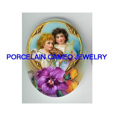 2 SINGING ANGEL VIOLIN PANSY UNSET PORCELAIN CAMEO CABOCHON