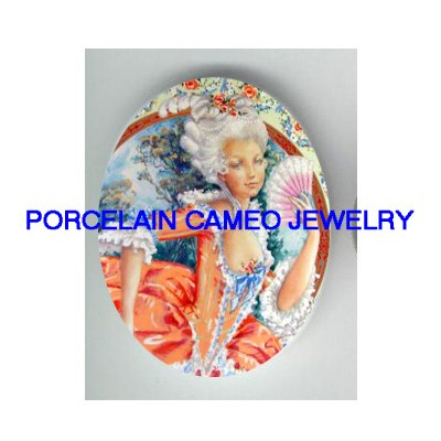 FRENCH QUEEN MARIE ANTOINETTE FAN UNSET CAMEO PORCELAIN CABO