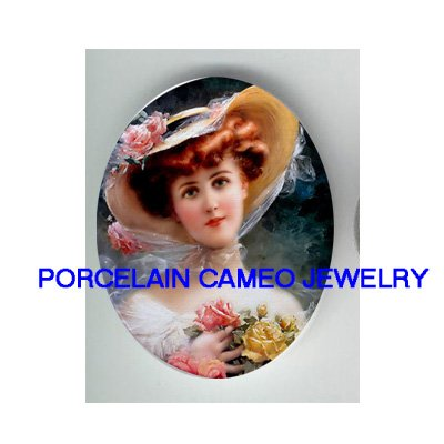 VICTORIAN LADY ROSE HAT UNSET CAMEO PORCELAIN CABOCHON