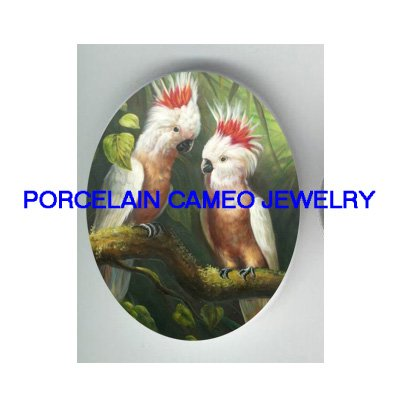 2 LEADBEATERS COCKATOO BIRD UNSET PORCELAIN CAMEO CABO