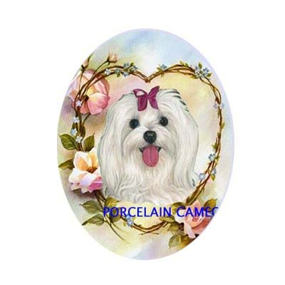 MALTESE DOG ROSEHEART FORGETMENOT UNSET CAMEO PORCELAIN