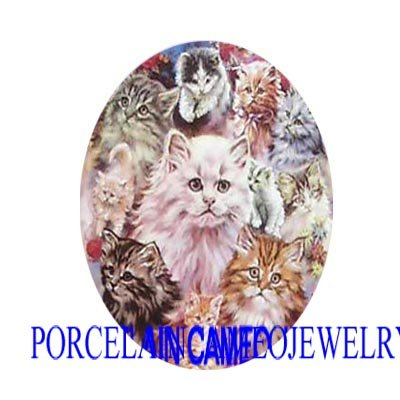 RARE KITTY CAT COLLAGE UNSET CAMEO PORCELAIN CABOCHON