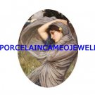 JOHN WATERHOUSE PURPLE LADY IN THE WIND UNSET CAMEO PORCELAIN CABOCHON