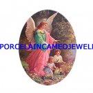 GUARDIAN ANGEL CHILDREN UNSET PORCELAIN CAMEO CABOCHON