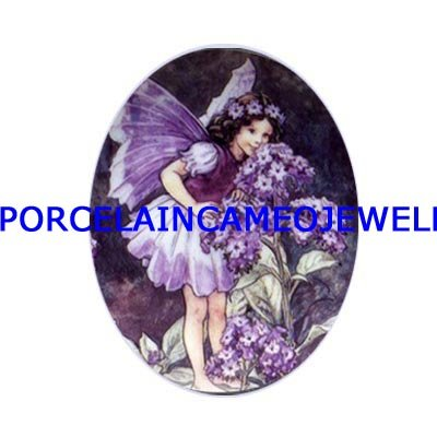 BUTTERFLY PURPLE FLOWER FAIRY UNSET CAMEO PORCELAIN