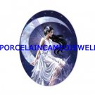 DRAGONFLY FAIRY MOON * UNSET CAMEO PORCELAIN CABOCHON