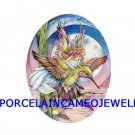 HUMMINGBIRD FAIRY * UNSET CAMEO PORCELAIN CABOCHON