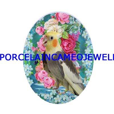 COCKATOO BIRD ROSE FORGET ME NOT UNSET CAMEO PORCELAIN