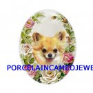 CHIHUAHUA DOG PINK ROSE UNSET CAMEO PORCELAIN CABOCHON