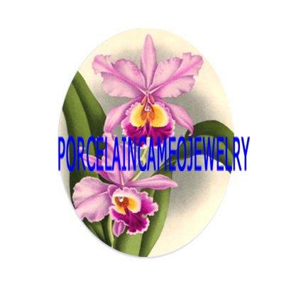 PURPLE ORCHID FLOWER UNSET CAMEO PORCELAIN CABOCHON