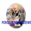 SUGAR GLIDER WITH COLORFUL PANSY  * UNSET CAMEO PORCELAIN CABOCHON 18X25