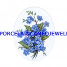 FORGET ME NOT FLOWER UNSET PORCELAIN CAMEO CABOCHON