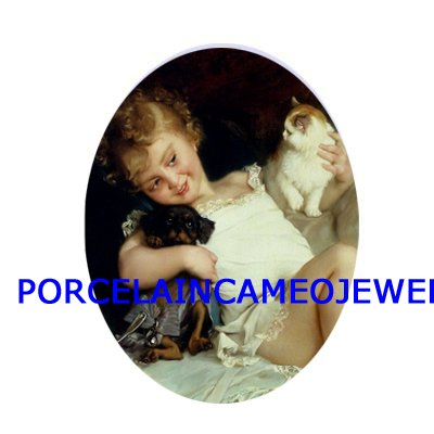 VICTORIAN GIRL KITTY CAT PUPPYDOG UNSET PORCELAIN CAMEO