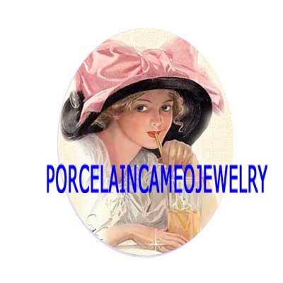 VICTORIAN LADY PINK RIBBON HAT UNSET PORCELAIN CAMEO