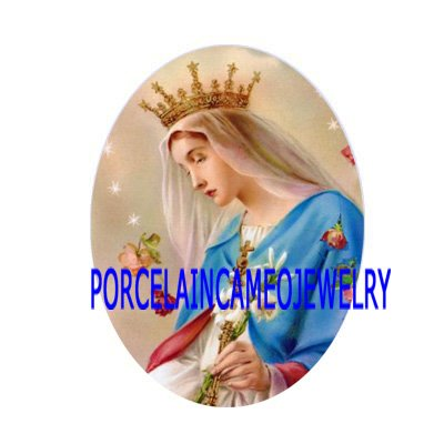 CROWN VIRGIN MARY ROSE UNSET CAMEO PORCELAIN CABOCHON