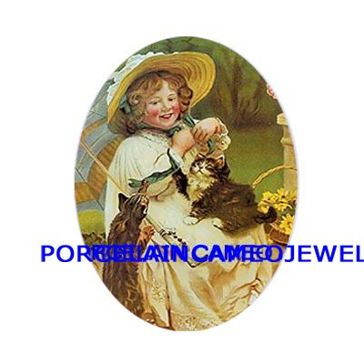 VICTORIAN GIRL WITH 2 KITTY CAT UNSET PORCELAIN CAMEO