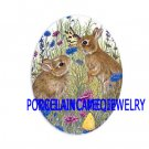 2 RABBIT BUNNY CHASING BUTTERFLY * UNSET CAMEO PORCELAIN CABOCHON