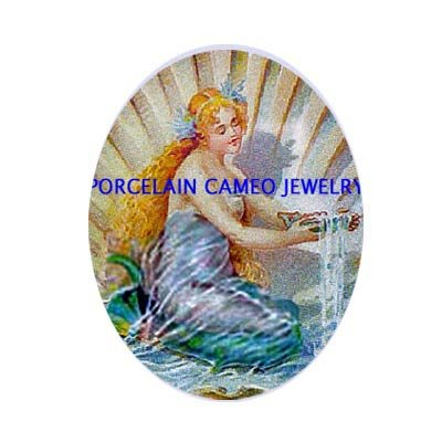 VICTORIAN MERMAID SEASHELL UNSET PORCELAIN CAMEO CABO