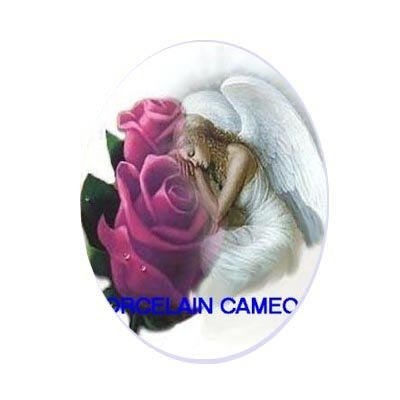 SLEEPING ANGEL ROSE UNSET CAMEO PORCELAIN CABOCHON