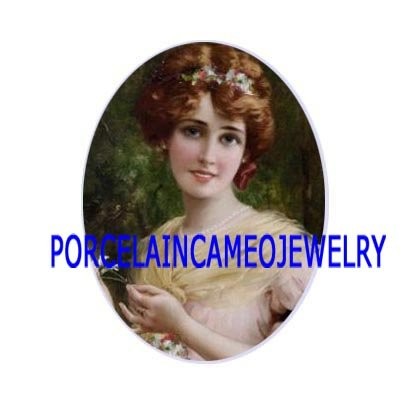 VICTORIAN LADY WITH FLOWER  * UNSET CAMEO PORCELAIN CABOCHON