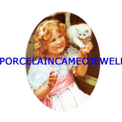 VICTORIAN GIRL PLAYING WITH WHITE KITTY CAT  * UNSET CAMEO PORCELAIN