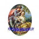 VICTORIAN FRENCH COURTING COUPLE ROSE UNSET PORCELAIN CAMEO CABO