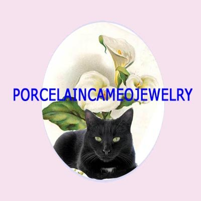 BLACK CAT CALLA LILY * UNSET CAMEO PORCELAIN CABOCHON