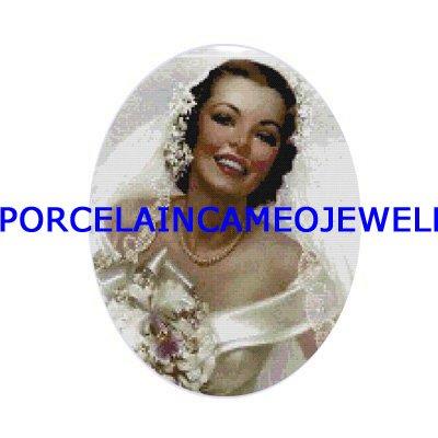 SMILING VINTAGE BRIDE LILY UNSET CAMEO PORCELAIN CABO