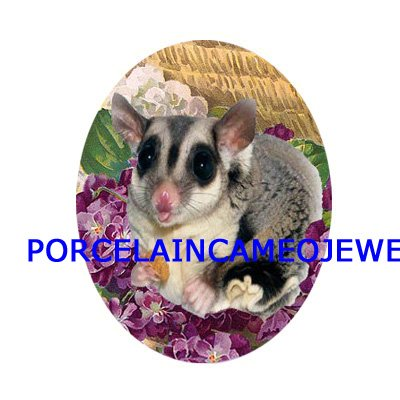 SUGAR GLIDER WITH VIOLET UNSET CAMEO PORCELAIN 30X40MM