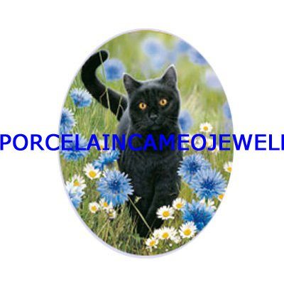 BLACK CAT WITH DAISY UNSET CAMEO PORCELAIN CABOCHON