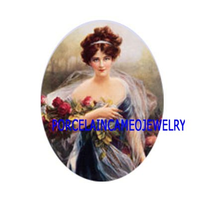 VICTORIAN LADY WITH ROSE* UNSET CAMEO PORCELAIN CABOCHON
