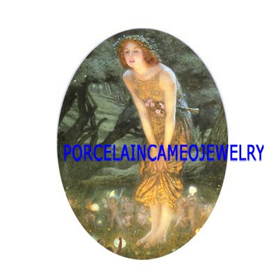 MIDSUMMER EVE WITH FAIRY UNSET CAMEO PORCELAIN CABOCHON