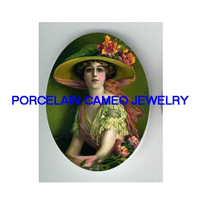 VICTORIAN WITH ROSE HAT UNSET PORCELAIN CAMEO CABOCHON