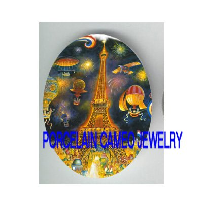 PARIS EIFFEL TOWER BALLOON * UNSET CAMEO PORCELAIN CABOCHON