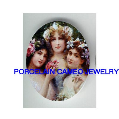VICTORIAN 3 SPRING FLOWER SISTERS* UNSET CAMEO PORCELAIN CABOCHON