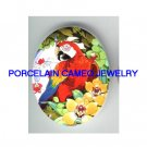MACAW PARROT BIRD DAFFODIL UNSET PORCELAIN CAMEO CABO