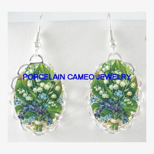 LILY OF THE VALLEY FORGET ME NOT UNSET CAMEO EARRINGS