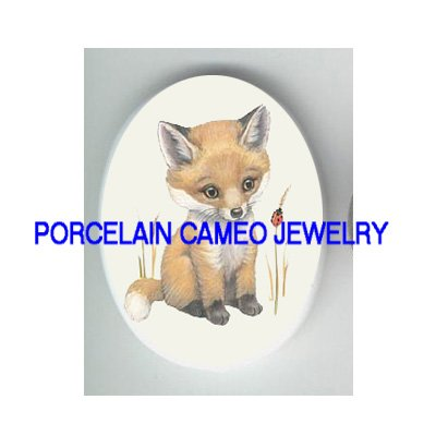 BABY RED FOX WITH LADY BUG UNSET CAMEO PORCELAIN CABO