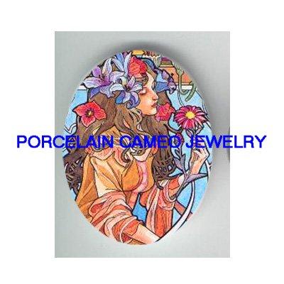ART NOUVEAU IRIS LILY LADY UNSET PORCELAIN CAMEO CABO