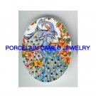 2 PEACOCK BIRD HIBISCUS UNSET PORCELAIN CAMEO CABOCHON